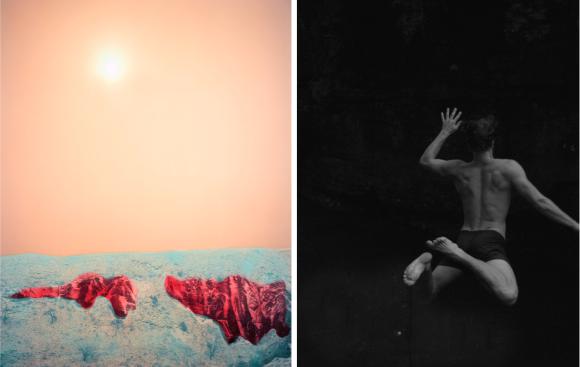Links: Douglas Mandry, Territorial Shift, Seascape 01-001, courtesy Bildhalle | Rechts: Raymond Meeks, Untitled from Furlong Series, 2017, courtesy Galerie Wouter van Leeuwen
