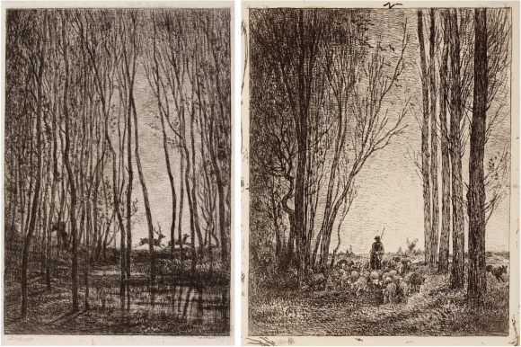 Links: Charles-Francois Daubigny, 'De herten in het bos', 1850, ets, inkt op papier.   Rechts: Charles-Francois Daubigny, 'De terugkeer van de kudde', 1862, cliché-verre, inkt op papier, beide: Gemeentemuseum Den Haag