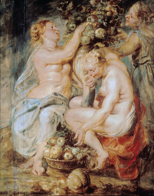 De Kunstmeisjes. Peter Paul Rubens, 'Drie nimfen met de hoorn des overvloeds', ca. 1625-1628, Dulwich Picture Gallery, Londen, via: Museum Boijmans Van Beuningen, Rotterdam