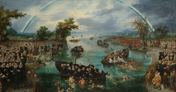 Adriaen van de Venne, 'De zielenvisserij', 1614, via: Rijksmuseum Amsterdam.
