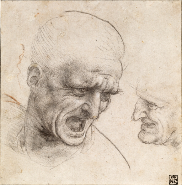 Leonardo da Vinci Studies for the Heads of Two Soldiers in the Battle of Anghiari